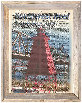 Southwest Reef Lighthouse Louisian Altered Art Print Upcycled Vintage Dictionary