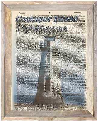Cockspur Island Georgia Lighthouse Altered Art Print Upcycled Vintage Dictionary