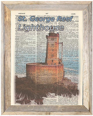 St. George Reef Lighthouse CA Altered Art Print Upcycled Vintage Dictionary Page