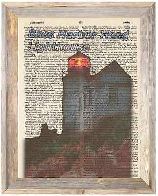 Bass Harbor Head Lighthouse Maine Altered Art Print Upcycled Vintage Dictionary