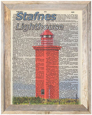 Stafnes Lighthouse Iceland Altered Art Print Upcycled Vintage Dictionary Page