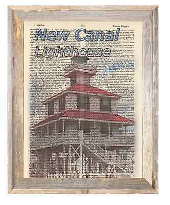 New Canal Lighthouse Louisiana Altered Art Print Upcycled Vintage Dictionary