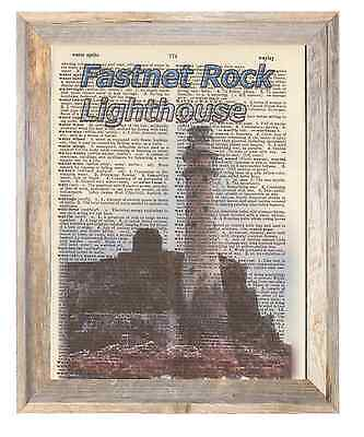 Fastnet Rock Lighthouse Ireland Altered Art Print Upcycled Vintage Dictionary