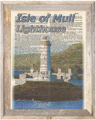 Isle of Mull Lighthouse Scotland Altered Art Print Upcycled Vintage Dictionary