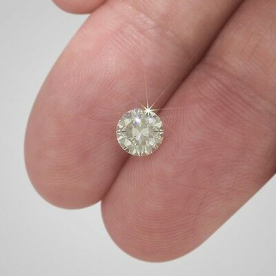 1 Ct Round Loose Diamond - Fancy Light Yellow Color SI1 Clarity Enhanced #D2122