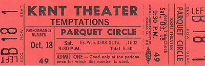 The Temptations 1969 Cloud Nine Tour Unused Full Des Moines Concert Ticket