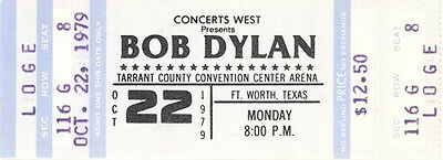 Bob Dylan 1979 Slow Train Comin' Concert Tour Unused Full Ft. Worth Ticket