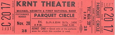 Monkees / Michael Nesmith 1970 Loose Salute Tour Unused Full Concert Ticket