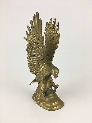 "Vintage Solid Brass American Bald Eagle Statue Sculpture Large 8"" Tall"