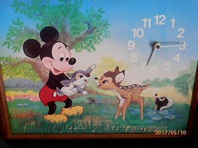 VTG Walt Disney MICKEY MOUSE, THUMPER & BAMBI PICTURE Clock - Welby By Elgin
