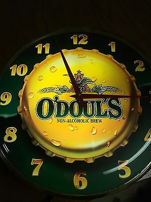 1993 O'Doul's Non Alcoholic Beer Light Up Clock Sign Anheuser Busch Brew ODouls