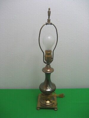 "Vintage Victorian Metal Brass Electric Table 21"" Lamp"