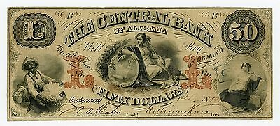1859 $50 The Central Bank - Montgomery, ALABAMA Note w/ SLAVE