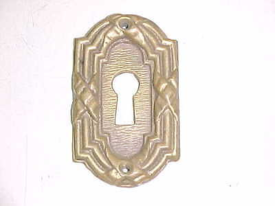 Large Antique Vintage Old Solid Cast Brass Escutcheon Keyhole Key Hole Cover