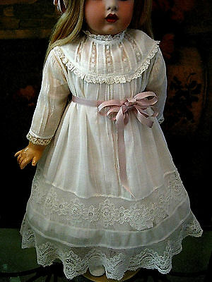 Antique Lace & Tulle Doll Dress 4 French Bru Jumeau Sfbj Or German Bisque Head