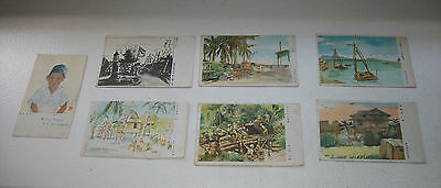 Seven Hand-Drawn WWII postcards