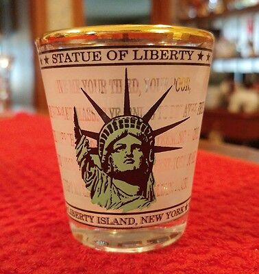 Liberty Island New York Small Shot Glass Statue of Liberty Welcome