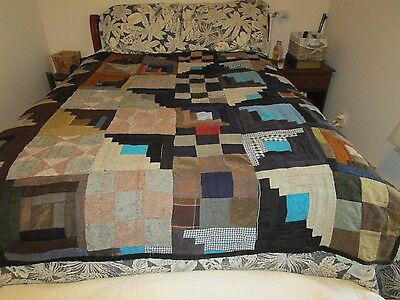 Antique Machine and Hand Sewn Log Cabin Quilt