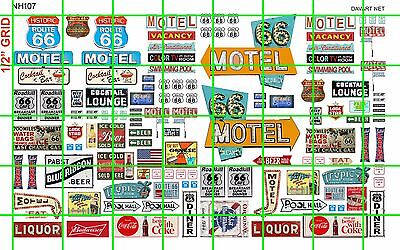 NH107 1/2 Set N SCALE ROUTE 66 GAS LODGE ROAD SET ASSORTED SIGNS BEER LIQUOR