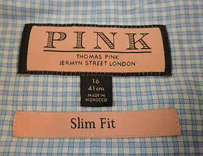 Thomas Pink Men's Slim Fit Dress Shirt Blue Check 16 - 34/35