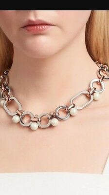 Mimco Stratosphere Choker Necklace Silver And Rose Gold