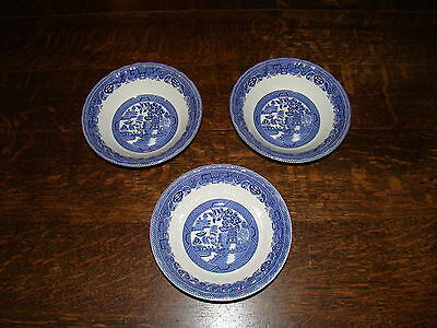 3 Myott Meakin Fine Tableware England Blue Willow China Cereal Salad Bowls