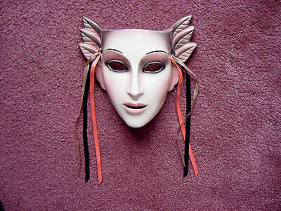 RARE CLAY ART DeCo Lady Head~Face~Peach Pink to Gray LEAvES WaLL Hanging Mask