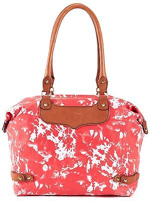 REBECCA MINKOFF Authentic Coral Waxed Canvas Tote Shoulder Bag