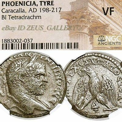 CARACALLA Cert.NGC VF Large Tetradrachm Tyre,Phoenicia Ancient Roman Empire Coin