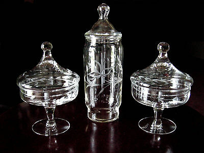 3 ViNTaGe ETCHED Footed ArT GLaSs Drug Store~Apothecary~Candy Jars w/Finial Lids