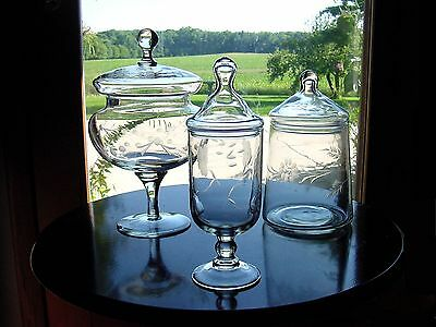3 ViNTaGe ETCHED FLoWeR ArT GLaSs Drug Store~Apothecary~Candy Jars w/Finial Lids