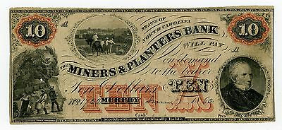 1860 $10 The Miners & Planters Bank - Murphy, NORTH CAROLINA Note w/ SLAVES