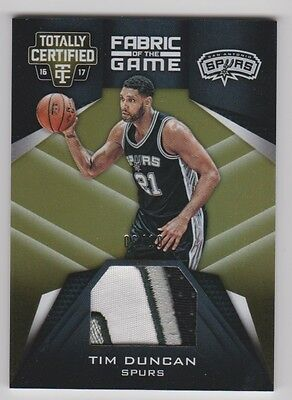 16/17 Totally Certified Fabric Of The Game Gold Patch 6/10 Tim Duncan 3Cl !!