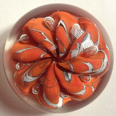 Vintage St. Clair Blown Glass Paperweight Clear Orange Ribbon LARGE Rare Studio
