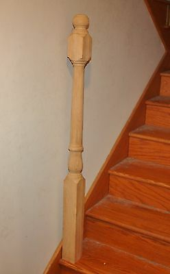 "Nice Unfinished Oak Turned Banister Post 4x4 51"" tall Newel Stair Spindle"