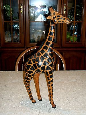 """Vintage 23 1/2"""" tall Leather Covered Giraffe"""