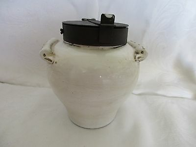 Vintage Ceramic Jar With Metal Lid