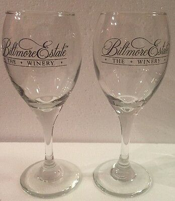 Pair Biltmore Estate Winery Souvenir Stemmed Wine Glasses Barware Stemware