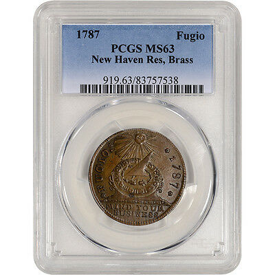 1787 Fugio Colonial Brass Cent - New Haven Restrike - PCGS MS63 - POP 7/5