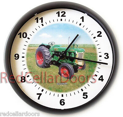 New OLIVER Model 99 Tractor Wall Clock Green and Yellow Tractor in Field Farming