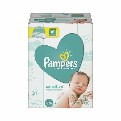Pampers Baby Wipes Sensitive 9X Refill 576 Diaper Wipes 9 Refills, 576 Count