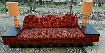 Vintage Mid Century Modern Sofa Couch W/ Built In End Tables Red Orange Spanish