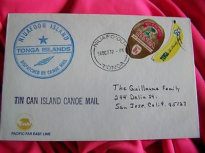Tonga TIN CAN MAIL Banana 2s & Coconut 8s Stamp with insert-rare!