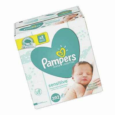 Pampers Baby Wipes Sensitive 7X Pop-Top Packs 392 Count 7 Refills, 392 Count
