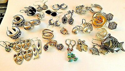 Lot of 25 sets of sterling silver earrings and one pendant*pretty*