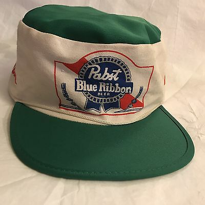 Vintage Pabst Blue Ribbon Painters Style Cap Logo Rope Green Accents