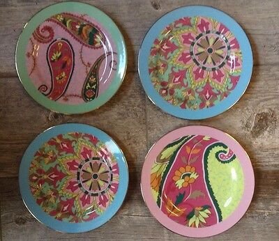 """Lot of 4 Anthropologie Multicolored Modern Graphic Paisley Plates 8"""" Gold Rimmed"""