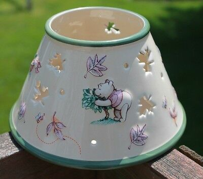 WDW Large Candle Shade Pooh Tigger Eeyore Piglet Green Tan Cut out leaves EUC