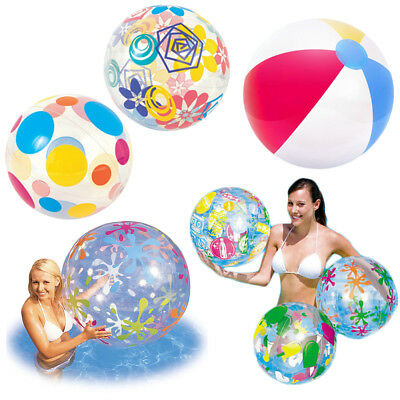 """Inflatable Beach Ball Swimming Pool Party Holiday 16"""" 20"""" 24"""" 48"""" Various Design"""