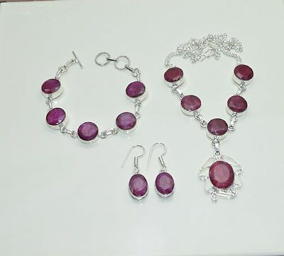 Wholesale 3Pc925 Silver Plated Red Ruby Nice Earring-Necklace-Bracelet Mix Lot